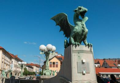 Het symbool van Ljubljana, de draak. Dit en meer moois in het fotoalbum Slovenië op www.edvervanzijnbed.nl