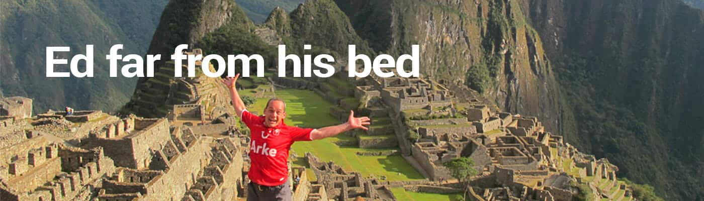 Ed far from his bed