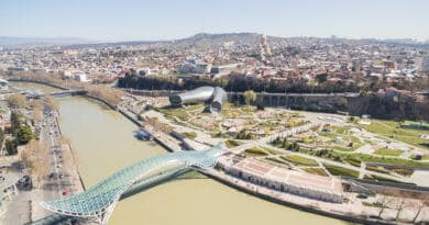 The Peace Bridge, Parliament and Trinity Church in Tiflis or Tbilisi.